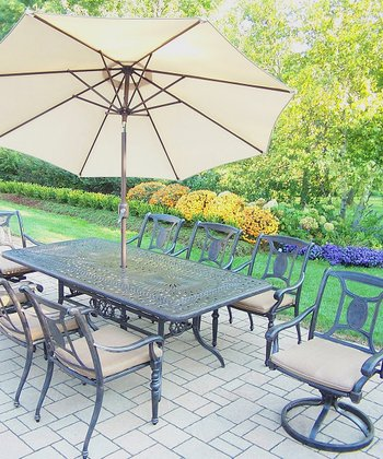 Aged Finish Victoria 11-Piece Outdoor Dining Set