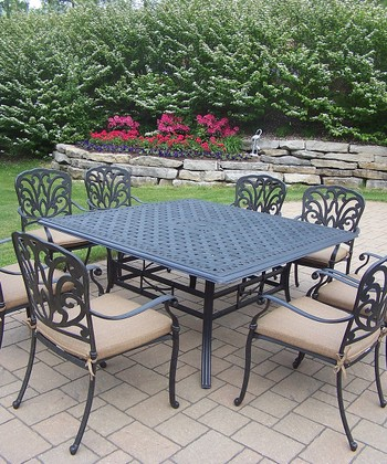 Antique Black Hampton Nine-Piece Outdoor Dining Set