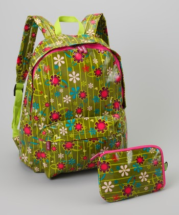 Green Flower Backpack & Pouch