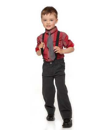 Charcoal Silver Screen Pants & Suspenders - Toddler & Boys