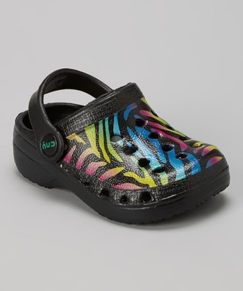 Capelli New York Black & Teal Zebra Combo Clog - Kids
