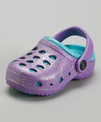 Capelli New York Purple & Teal Glitter Combo Clog - Kids