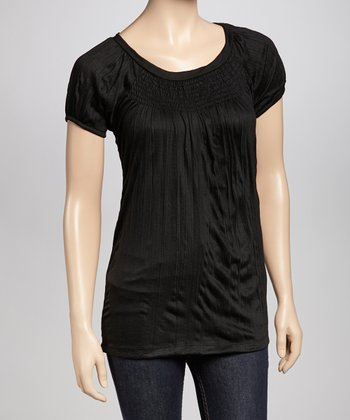Black Shirred Petite Top