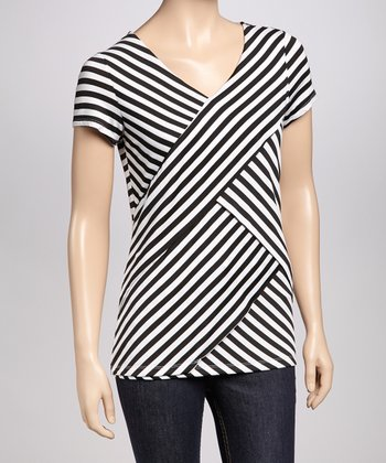 Black Layered Stripe Petite Top