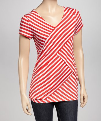 Red Layered Stripe Petite Top