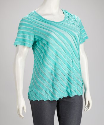 Teal Stripe Plus-Size Scoop Neck Top