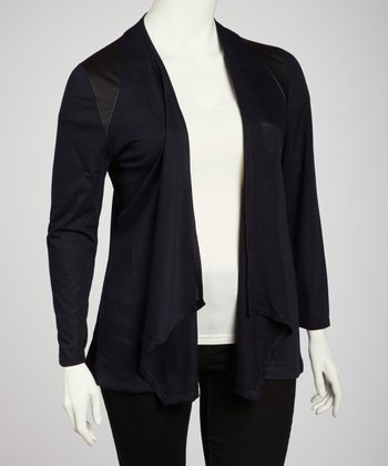 Black Open Cardigan - Plus