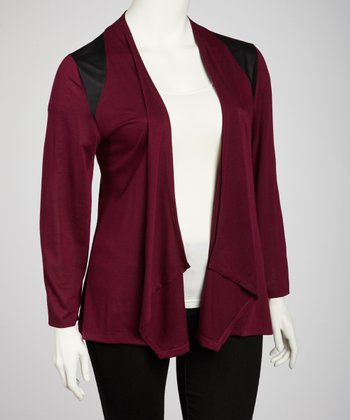 Burgundy Open Cardigan - Plus