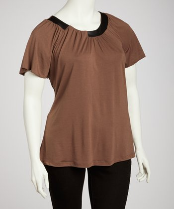 Putty Pleated Top - Plus