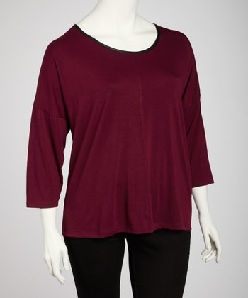 Burgundy Scoop Neck Back-Zip Top - Plus
