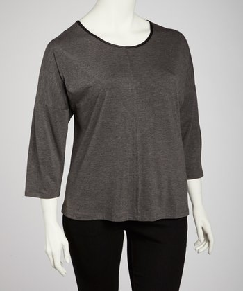 Charcoal Scoop Neck Back-Zip Top - Plus