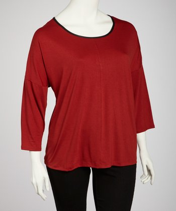 Rust Scoop Neck Back-Zip Top - Plus