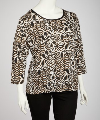 Wood Zebra Scoop Neck Top - Plus