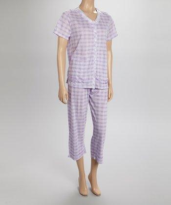 Purple Plaid Capri Pajamas - Women & Plus