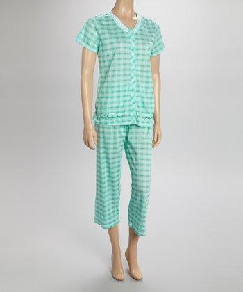 Green Plaid Capri Pajamas - Women & Plus