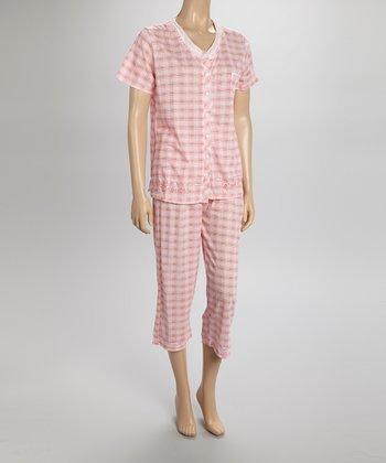 Pink Plaid Capri Pajamas - Women & Plus