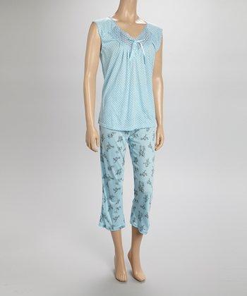 Blue Lace Capri Pajamas - Women & Plus