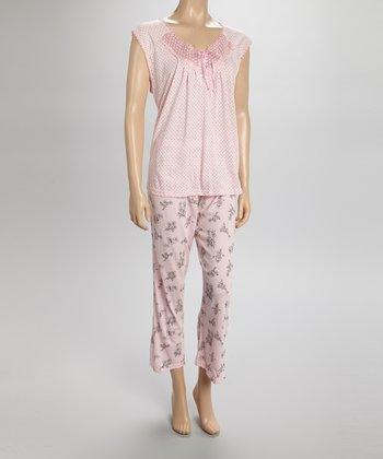 Pink Lace Capri Pajamas - Women & Plus