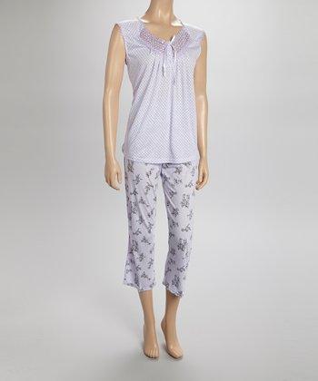 Purple Lace Capri Pajamas - Women & Plus