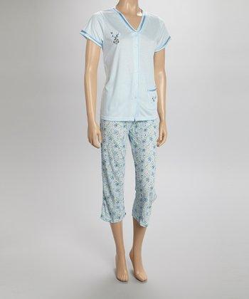 Blue Floral Capri Pajamas - Women & Plus