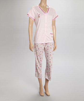 Pink Floral Capri Pajamas - Women & Plus