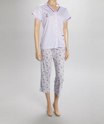 Purple Floral Capri Pajamas - Women & Plus