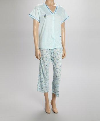 Mint Floral Capri Pajamas - Women & Plus