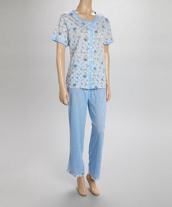 Blue Floral Pajamas - Women & Plus