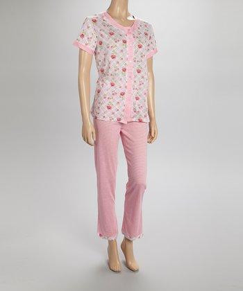 Pink Floral Pajamas - Women & Plus