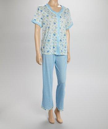 Mint Floral Pajamas - Women & Plus