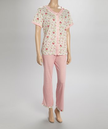 Peach Floral Pajamas - Women & Plus