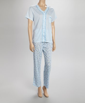 Blue Dotty Lace Pajamas - Women & Plus