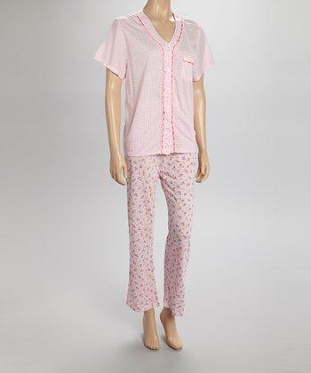 Pink Dotty Lace Pajamas - Women & Plus