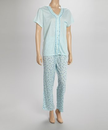 Mint Dotty Lace Pajamas - Women & Plus