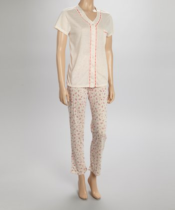 Peach Dotty Lace Pajamas - Women & Plus