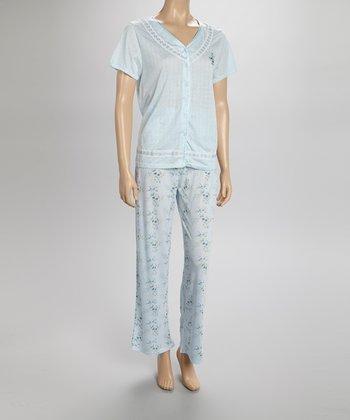Blue Pointelle Pajamas - Women & Plus