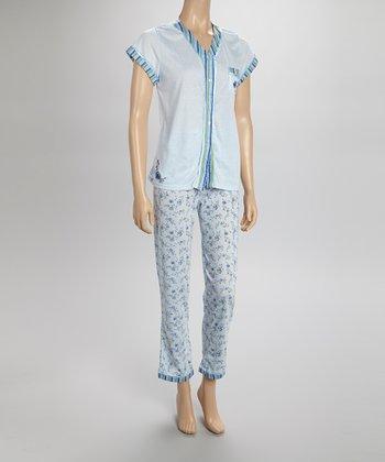 Blue Stripe Pajamas - Women & Plus