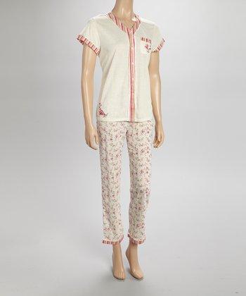 Peach Stripe Pajamas - Women & Plus
