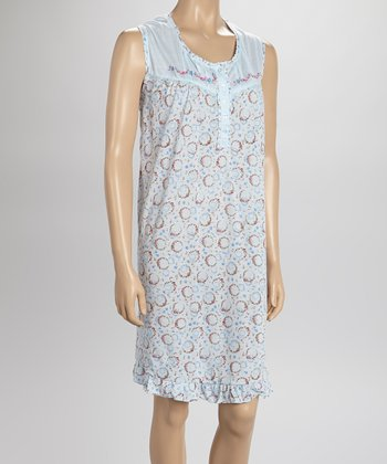 Blue Embroidered Nightgown - Women & Plus