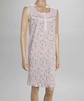 Pink Embroidered Nightgown - Women & Plus