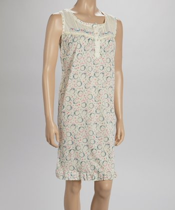 Peach Embroidered Nightgown - Women & Plus