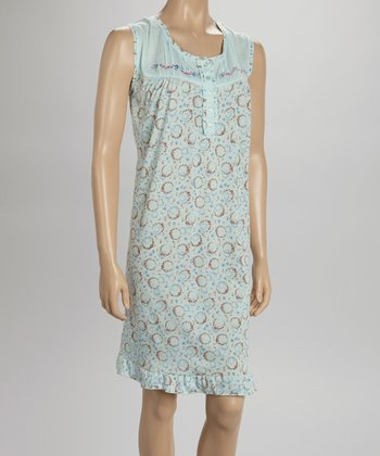 Mint Embroidered Nightgown - Women & Plus