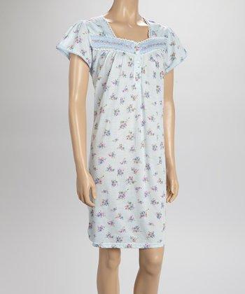 Blue Gingham Nightgown - Women & Plus