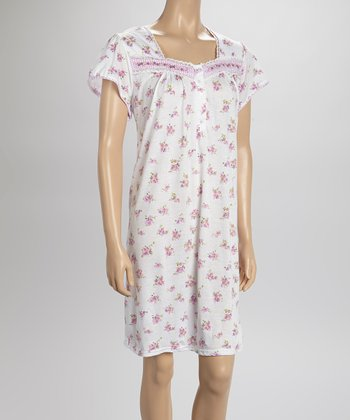 White Gingham Nightgown - Women & Plus
