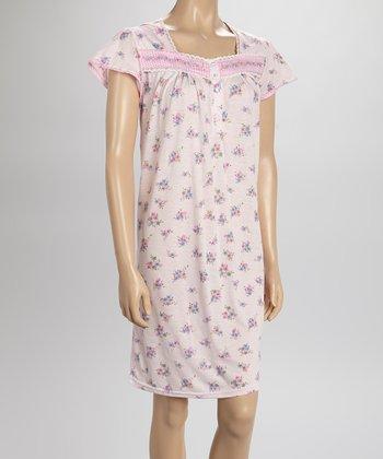 Pink Gingham Nightgown - Women & Plus