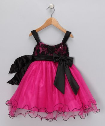Fuchsia & Black Bow Dress - Toddler & Girls