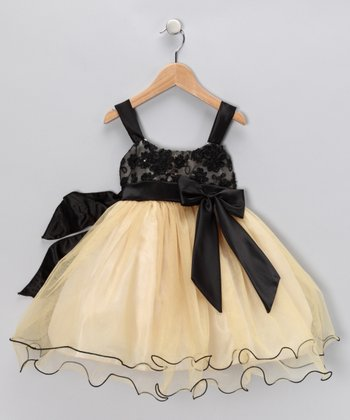 Gold & Black Bow Dress - Girls