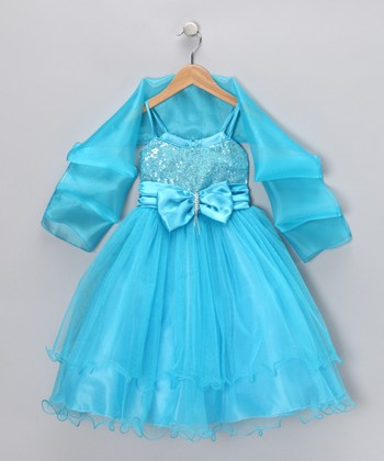 Turquoise Bow Dress & Shawl - Toddler & Girls