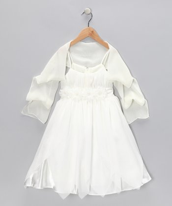 Chic Baby Ivory Rosette Petal Dress & Shawl - Toddler & Girls