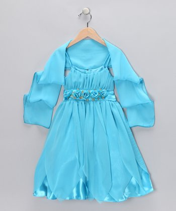 Turquoise Rosette Petal Dress & Shawl - Toddler & Girls